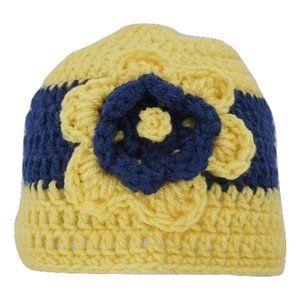 🆕Hand-Crocheted Yellow & Navy Blue Flower Beanie
